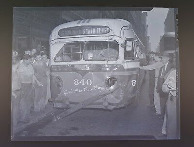 WEEGEE ARTHUR FELLIG 1946 ORIGINAL NEGATIVE 4 X 5  UNIQUE BUS CRASH !!!!!!!! a