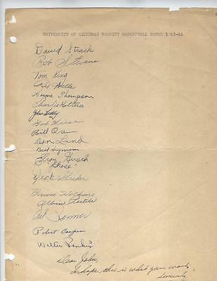 1943-44  Michigan Wolverines Basketball Team autographs RARE Hirsch Renner Lund
