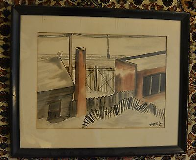 POLAND CONCENTRATION CAMP E.R. Goldstein watercolor 1945 framed Ghetto holocaust