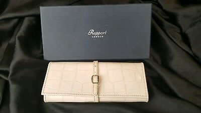 RAPPORT LONDON vintage cream real leather jewellery wrap travel case RRP £195