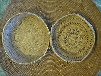 Pair of Native American Indian Paiute Baskets smaller trinket 1 polychome