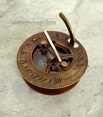 "Nautical Brass Compass Sundial Antique Finish Size 3"" Engraved"