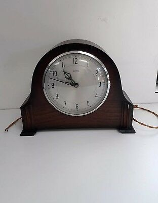 SMITHS SECTRIC Vintage Electric Wooden Mantle Clock Westminster chime