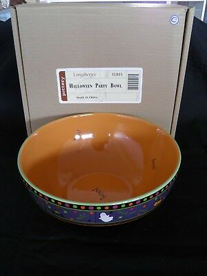 Longaberger Halloween Party Bowl Pottery New In Box Free Shipping