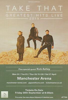 TAKE THAT live 2019 promo FLYER manchester concert odyssey greatest hits tour