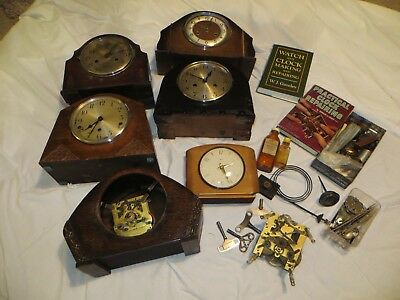 Clocks - Selection of Old Clocks with Spare Parts and Clock Repairing Books