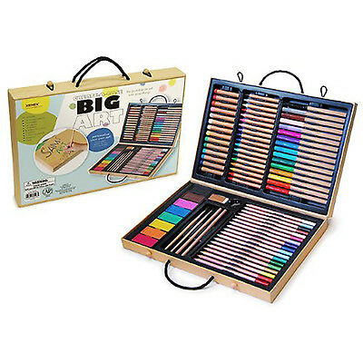 Kids Art Set Portable Case Markers Colored Pencils Crayons Pastels Drawing Kit