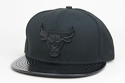 382bc1858ba Chicago Bulls Black Metal Patent Leather Cap Gown New Era 9Fifty Snapback  Hat
