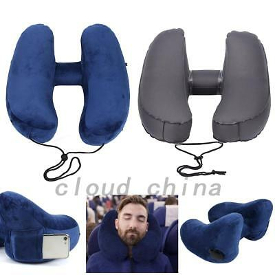 Inflatable Neck Pillow Travel Pillow With Velvet Hood For Office Car Airplane AU