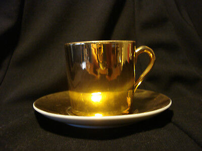 Demitasse Gold and White Porcelain Cup & Saucer unmarked Very Good