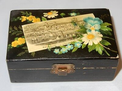 ANTIQUE BLACK MAUCHLINE WARE STAMP BOX BROADSTAIRS  PIER ENGLAND Late 1800's