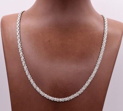 4mm All Shiny Classic Byzantine Link Chain Necklace Real 10K White Gold
