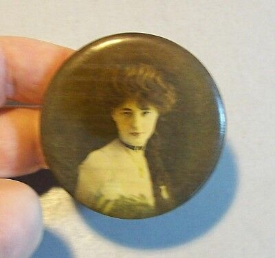 Old Celluloid Pocket Mirror Picturing a Pretty Young Woman