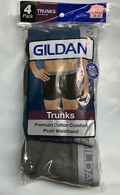Gildan Mens Boxer Briefs Trunks Solid Color Size Small ( 4 Pack)