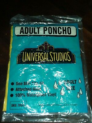 Vintage 1980s Universal Studios Vinyl Rain Poncho With Hood Adult Hollywood 80s