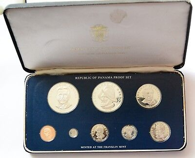 1975 Republic of Panama Proof Set ~ 8 Proof Coins in Case ~ Beautiful