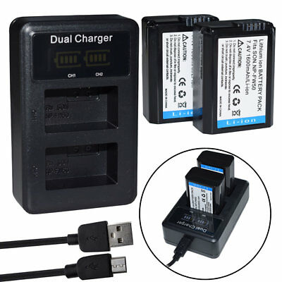 NP-FW50 Battery For Sony Alpha A6000 A6300 A6500 A7r A7 or LCD Dual USB Charger
