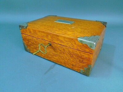 Antique Oak Document Box w/ Metal Mounts & Working Key