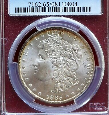 1885-O Morgan Silver Dollar Pcgs Ms65 Rainbow Rim Toning