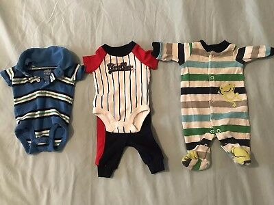 Carter's Child of Mine Boys Premature Baby's Outfit Lot Of 3 Assorted One Pieces