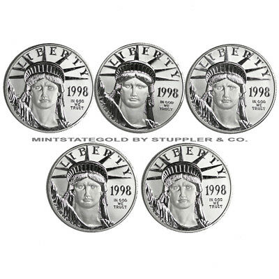 Random Year Lot of 5 1oz BU Platinum Eagle American bullion Statue of Liberty