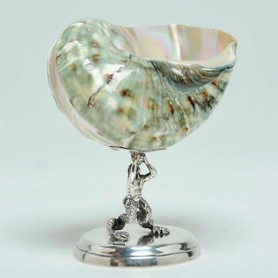 Italian 800 Silver Mounted Jade Shell Cup With Figural Sea Creature Base Wow!