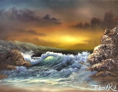 "original oil painting landscape signed on canvas "" Ocean With Emotion """