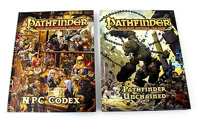 Pathfinder Role Playing Game NPC Codex and Pathfinder Unchained 2 Book Lot