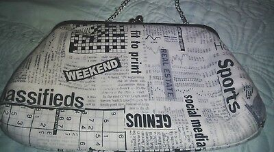 Ladies Clutch Purse with Detachable Chain Strap with News Print design
