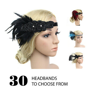1920s vintage gatsby charleston flapper sequins headband beaded art deco feather