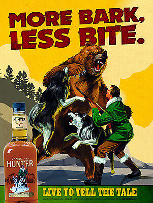 Canadian Hunter Whiskey, Retro Metal Sign/Plaque Pub Bar Man Cave Wall