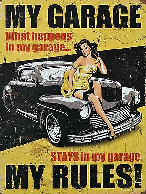 My Garage My Rules, Retro metal Aluminium Sign Vintage Garage shed Man Cave wall