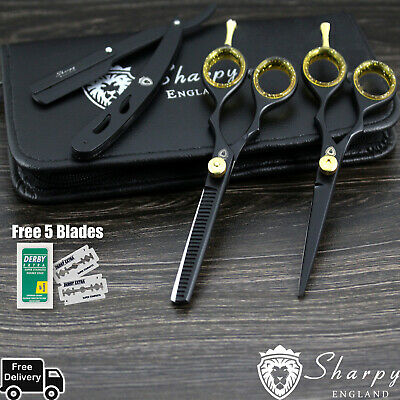"5.5"" Professional Salon Hairdressing Hair Cutting Thinning Barber Scissors Set."