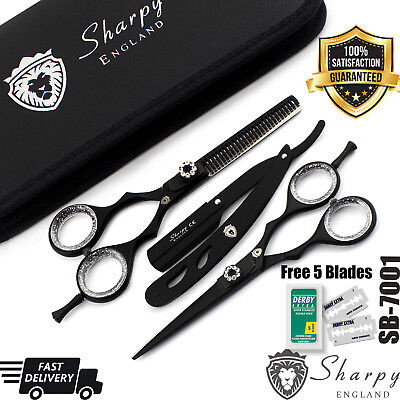 New Professional Hairdressing Scissors Barber Haircutting Shears Set Black 5.5""