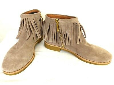 b9488e4ffadc Kate Spade Womens Taupe Gray Suede Fringe Tassel Ankle Boots Booties Sz 8.5
