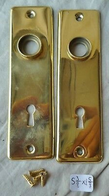 "Door Knob Back Plates Mission Antique stamped brass 5 3/8"" x 1 5/8"" Pr"