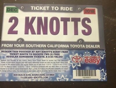 2 Knotts Berry Farm Theme Park Tickets -