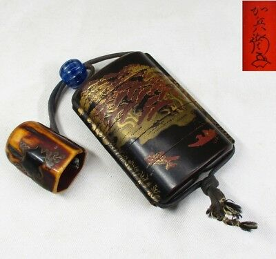 H862: Real old Japanese lacquered pillbox INRO with good MAKIE and tasty NETSUKE