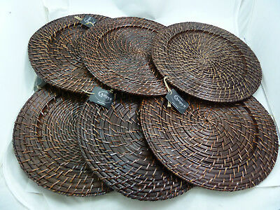 ChargeIt! By Jay Round Rattan Brick Brown approx 13-inch Charger (Set of 6)