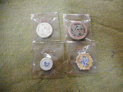 #D438.  Four(4)  Old Ceremic Chinese Coins/ Tokens