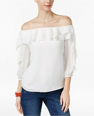 801cc055d0c1c Inc International Concepts White Ruffled Off-The-Shoulder Top Size Large NEW