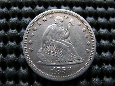 Choice 1857 Seated Quarter with Die Clash Reverse