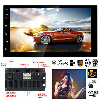 """7"""" 2Din Touch Quad Core Android 8.1 Car Stereo MP5 Player GPS Navi Radio WIFI FM"""