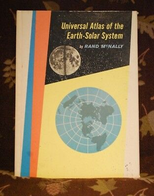 1959 Universal Atlas of the Earth-Solar System by Rand McNally w/ FOLD OUT MAP