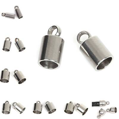 Wholesale 10pcs/bag Stainless Steel Crimp Bead Cord End Caps Jewelry Findings