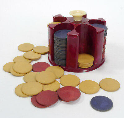 VTG Plastic Chip Caddy with Original Wood Poker Chips - 125 Chips - Mid Century