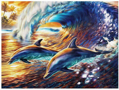 AU Wave Dolphin Full Drill 5D Diamond Painting Embroidery Cross Stitch Kit HN