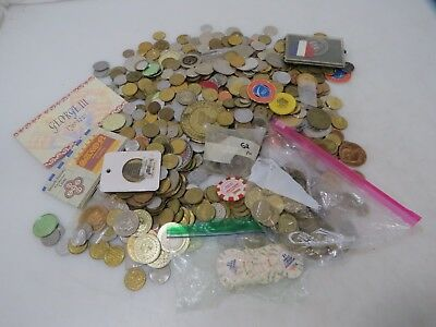 Huge 11.68 Lb. Assorted Lot of Tokens, Chips, Medals and Coins