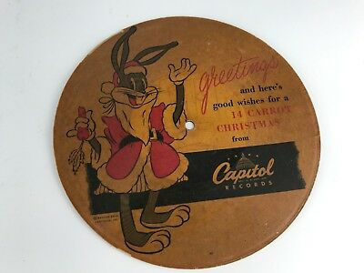 Vintage 1948 Bugs Bunny Record Good Wishes For A 14 Carrot Christmas Capitol Rec