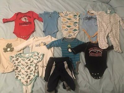 Lot Of 15 Assorted 3-6 Month Boys Toddler Clothes 10 One Pieces 5 Shorts/pants